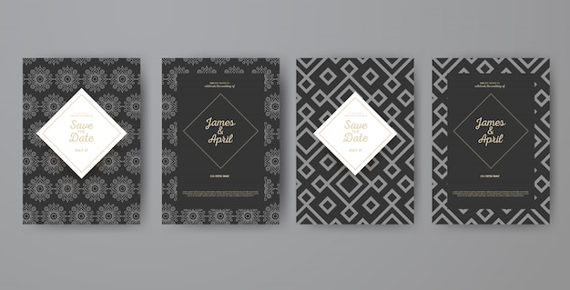 Cartes d'invitation géométriques de mariage d'art déco
