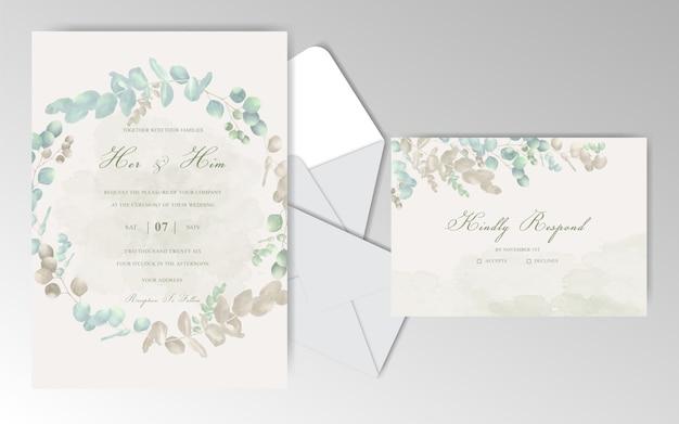 Cartes d'invitation de mariage aquarelle élégante avec de beaux eucalyptus