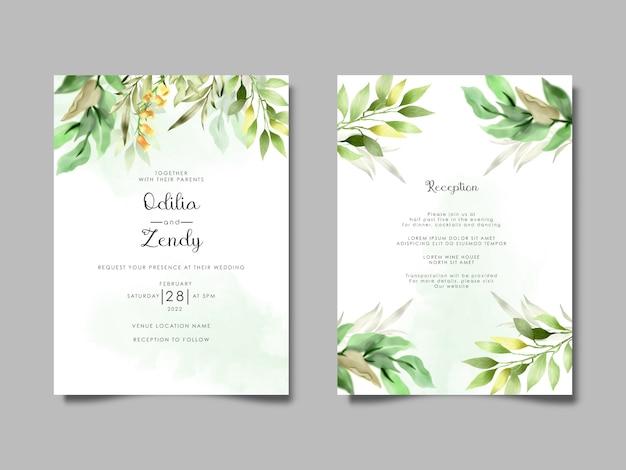 Cartes d'invitation de mariage aquarelle élégantes et belles feuilles sauvages