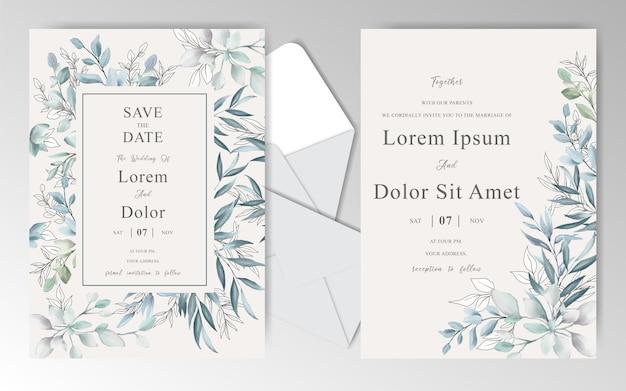 Cartes d'invitation de mariage aquarelle élégantes avec de belles feuilles
