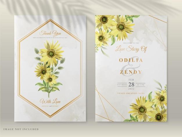 Cartes d'invitation de mariage avec beau tournesol dessiné à la main