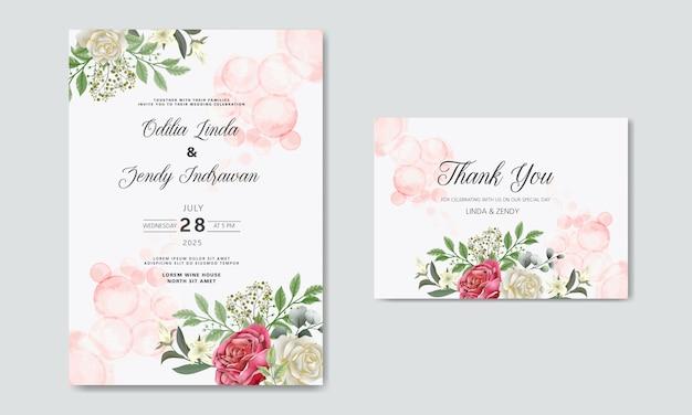 Cartes d'invitation de mariage belle fleur