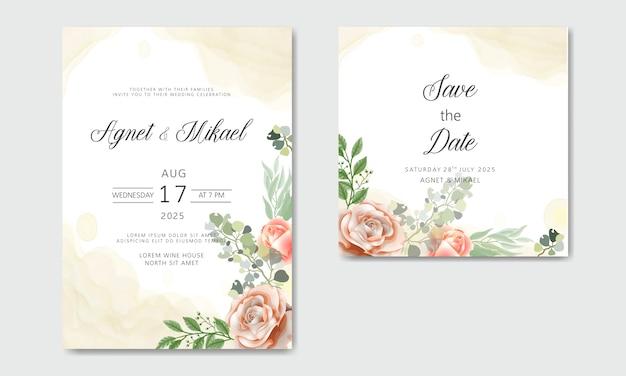 Cartes d'invitation de mariage belles et élégantes avec des thèmes floraux