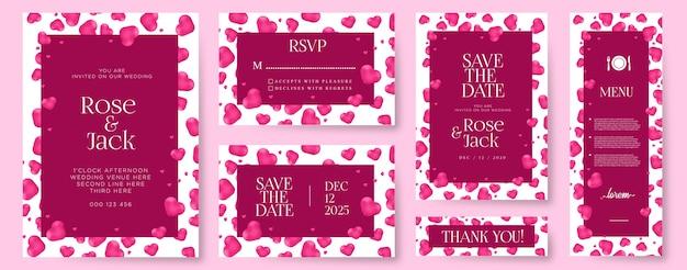 Cartes d'invitation de mariage créatives avec coeurs