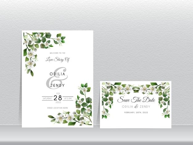 Cartes d'invitation de mariage avec un design élégant d'eucalyptus