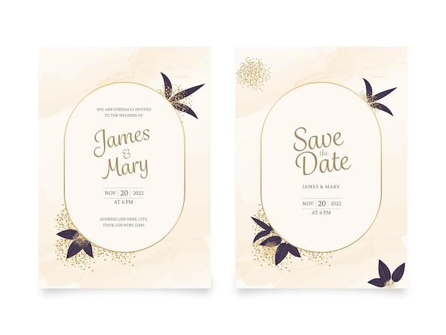 Cartes d'invitation de mariage avec des détails de lieu de couleur beige.
