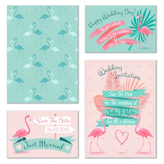 Cartes d'invitation de mariage flamingo