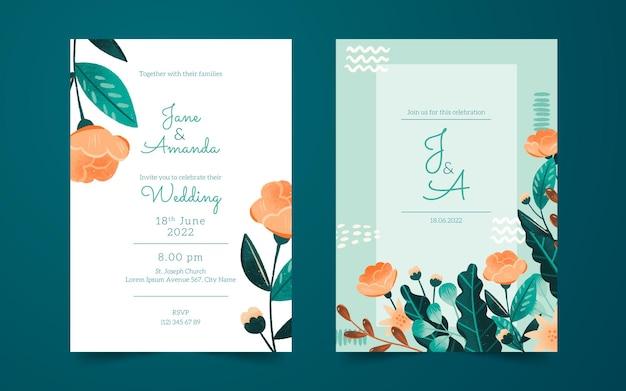Cartes d'invitation de mariage avec des fleurs dessinées à la main