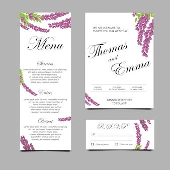 Cartes d'invitation de mariage avec des fleurs de lavande