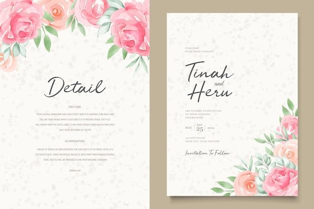 Cartes d'invitation de mariage floral aquarelle