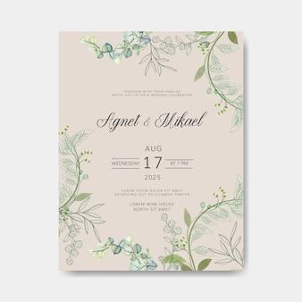 Cartes d'invitation de mariage floral belles et élégantes