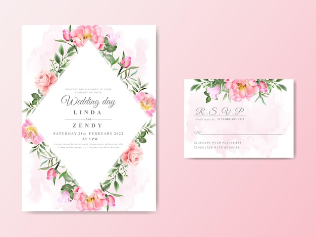 Cartes d'invitation de mariage floral dessinés à la main