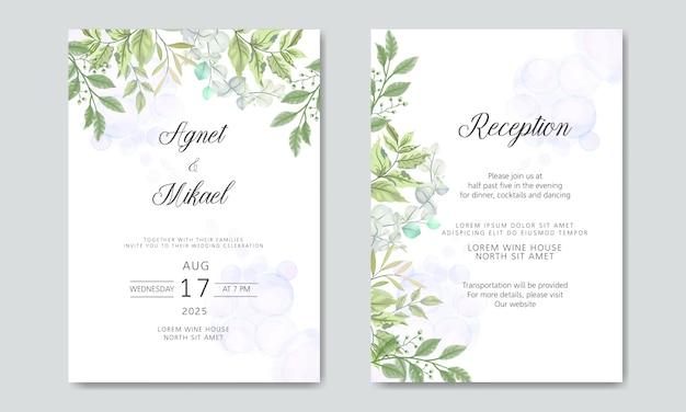 Cartes d'invitation de mariage avec floral élégant et beau