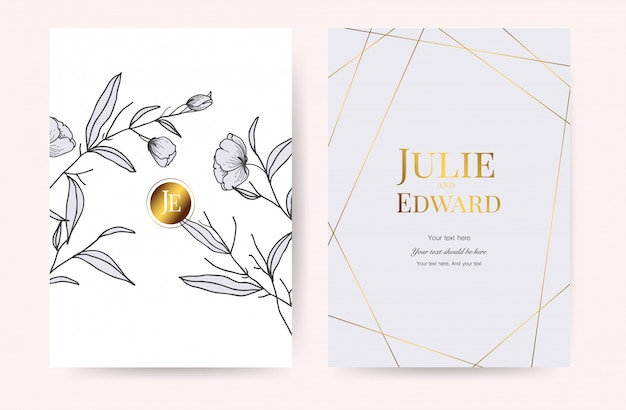 Cartes d'invitation de mariage de luxe vecteur
