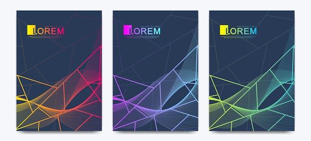 Cartes d'invitation de mariage de modèle vectoriel moderne avec fond de texture de marbre et lignes géométriques colorées au format a4