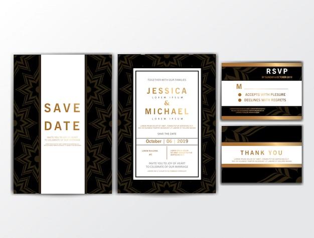 Cartes d'invitation de mariage avec ornement