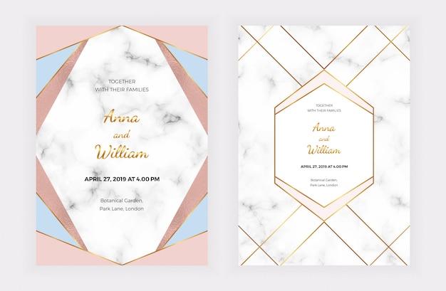 Cartes d'invitation de mariage avec rose