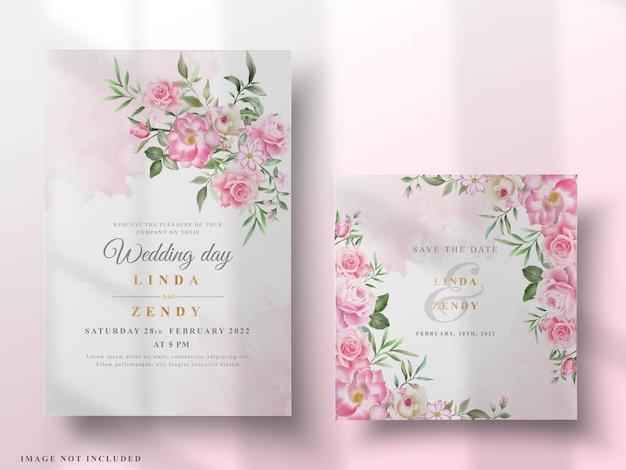 Cartes d'invitation de mariage roses élégantes