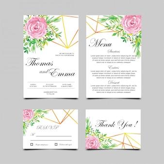 Cartes d'invitation de mariage avec style aquarelle