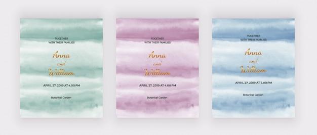 Cartes d'invitation de mariage avec texture aquarelle verte, rose et bleue.