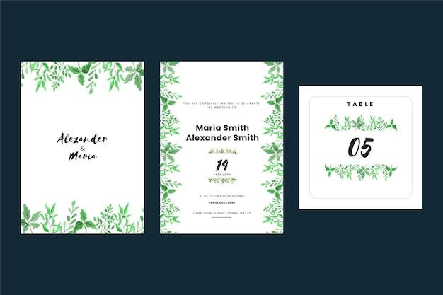 Cartes d'invitation de mariage vintage avec des feuilles
