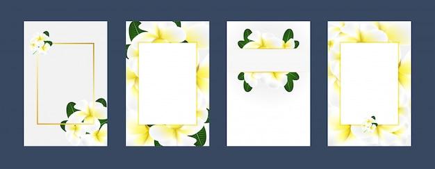 Cartes d'invitation plumeria blanc fond jaune