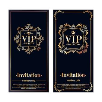 Cartes d'invitation premium pour les membres de la zone vip. ensemble de modèles noir et or. conception de vignettes décoratives rétro florales classiques.
