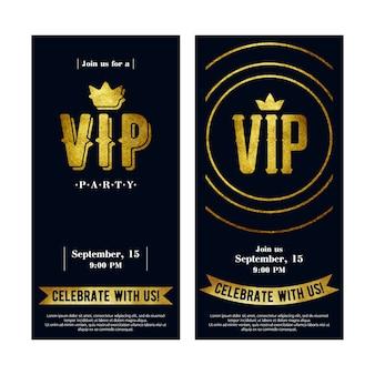 Cartes d'invitation vip avec lettres de peinture dorée.