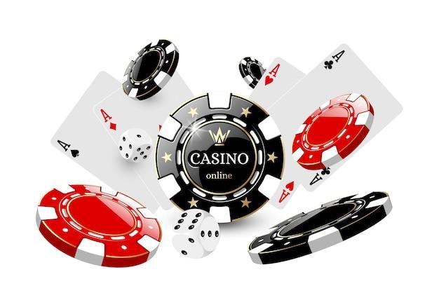 Cartes et jetons pour l'illustration de casino sur fond blanc dans le vecteur eps 10