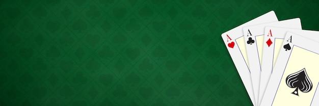 Cartes à jouer au poker et au casino modèle de bannière vierge avec carte de conception main de poker quatre as