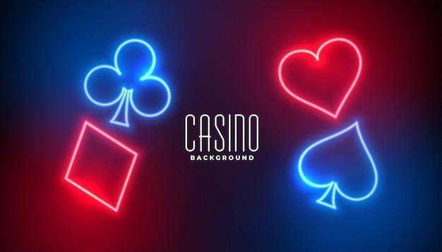 Cartes à jouer de casino dans un style néon