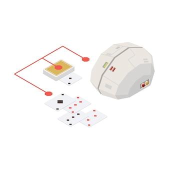 Cartes à jouer avec le concept d'intelligence artificielle du cerveau numérique isométrique