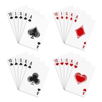 Cartes à jouer poker et casino jeu de cartes à jouer quinte flush royale isolé