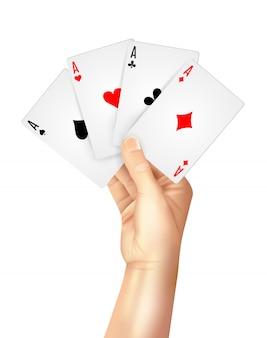 Cartes à jouer régulières écartées tenant la main