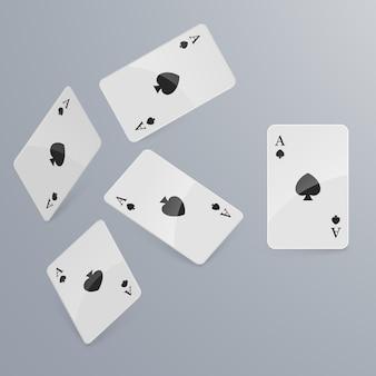Cartes à jouer tombant sur fond clair. isométrique