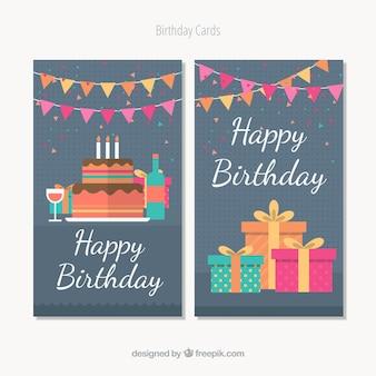 Cartes de joyeux anniversaire au design plat