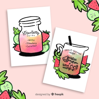 Cartes de jus de fruits aquarelle detox