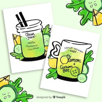 Cartes de jus de fruits aquarelle detox