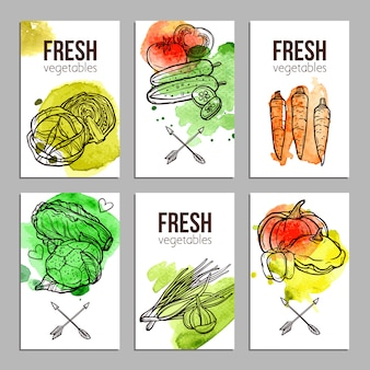 Cartes avec des légumes