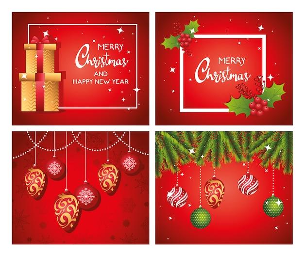 Cartes de lettrage joyeux joyeux noël avec conception d'illustration de cadeaux et de boules