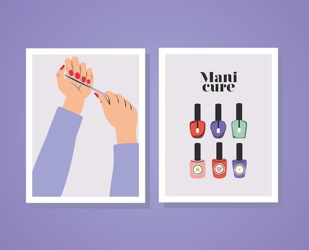 Cartes de lettrage de manucure et mains avec des ongles rouges, une lime à ongles et un ensemble de bouteilles de vernis