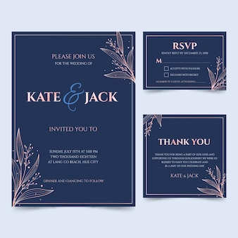 Cartes de mariage bleues avec ensemble de cadres