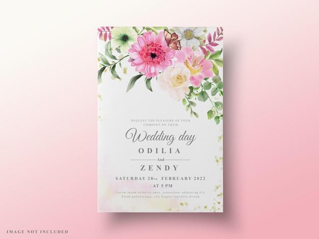 Cartes de mariage élégantes aquarelle florale