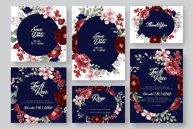 Cartes de mariage floral bleu marine bourgogne