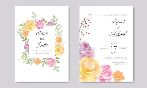 Cartes de mariage d'invitation avec de belles feuilles et fleur