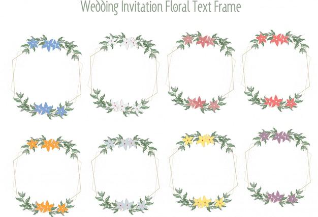 Cartes de mariage, invitations de mariage ou cadres de message floraux