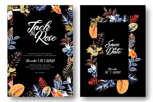 Cartes de mariage noir floral tropicales modernes