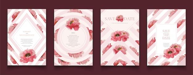 Cartes De Mariage Sertie De Roses Vecteur Premium