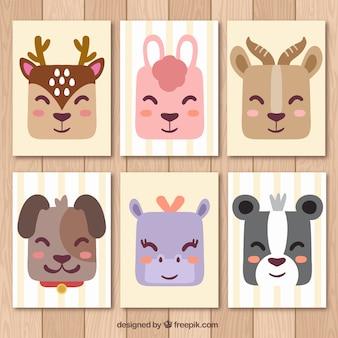 Cartes mignonnes avec des animaux sauvages souriants
