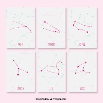 Cartes mignonnes avec constellations